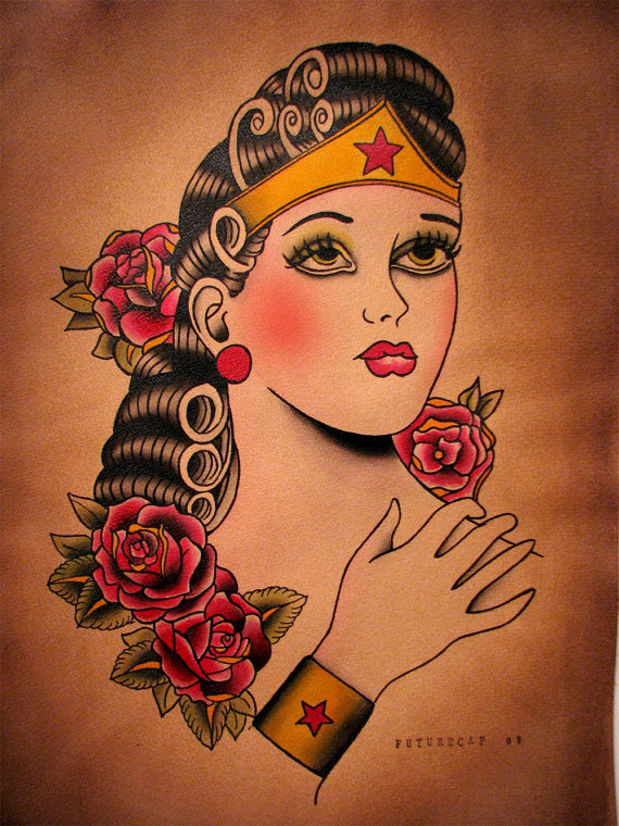 The vault vintage tattoo style wonder woman retcon punch for Tattooed wonder woman