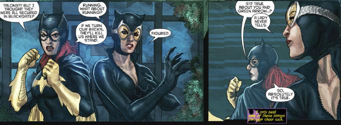 Batgirl and catwoman kiss