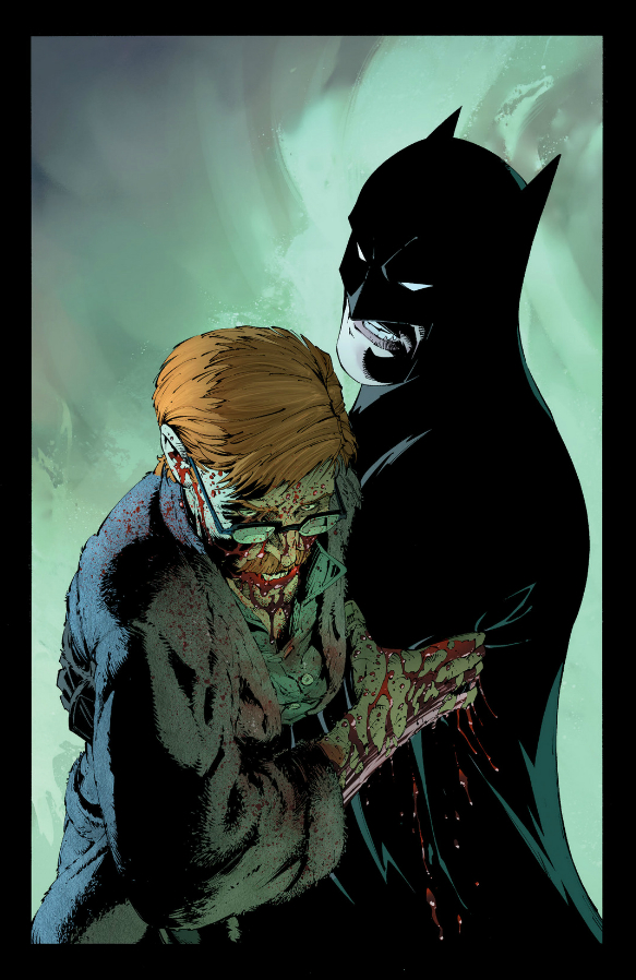 Gordon bleeds in Batman's arms