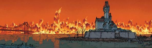 Gotham City burns