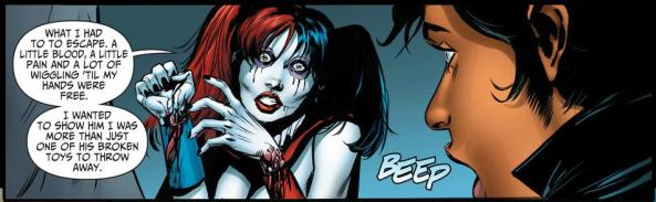 Harley Quinn cut her wrists or something