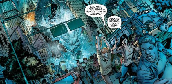 Jimmy Olsen and Lois Lane outrun a tidal wave