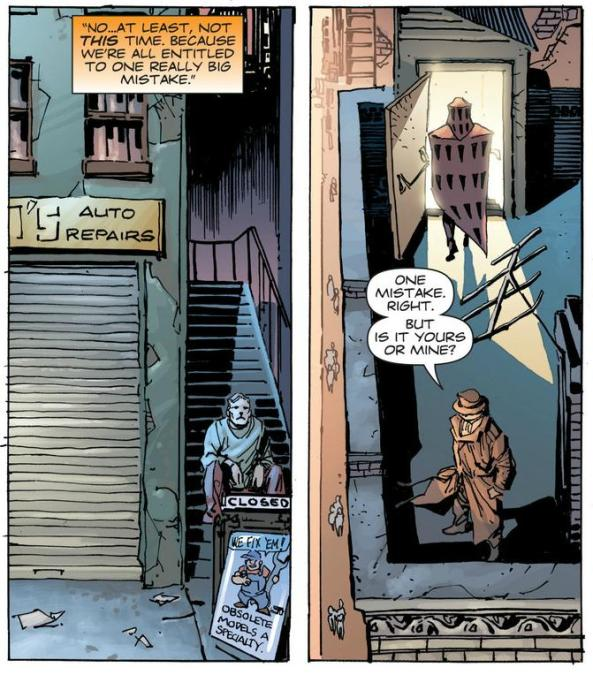 Nite Owl and Rorschach, making big mistakes