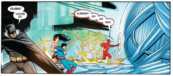 Batman Wonder Woman Superboy and Flash break into the fortress of Solitude