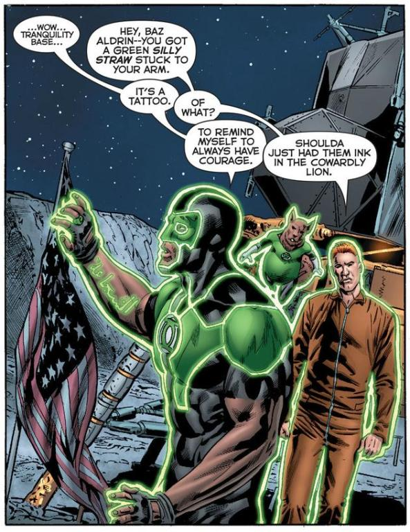 Baz B'dg and Guy Gardner on the Moon