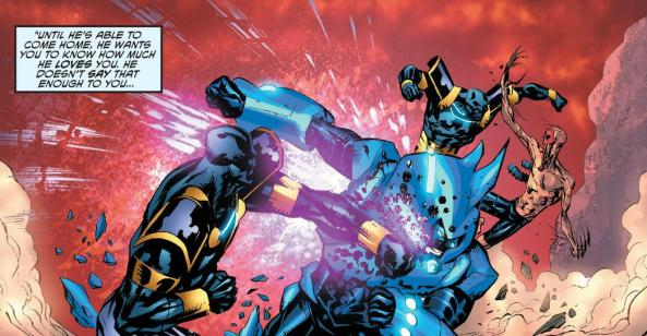Blue Beetle and Sky Witness battle Lady Styx's goons