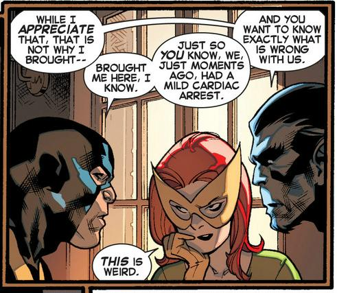 Jean Grey can't understand with so much Beast around here