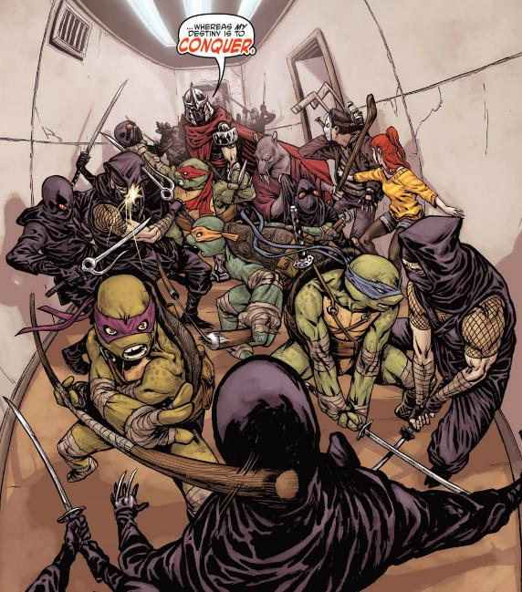 The Ninja Turtles, Casey Jones, April and Splinter fight Shredder and the Foot