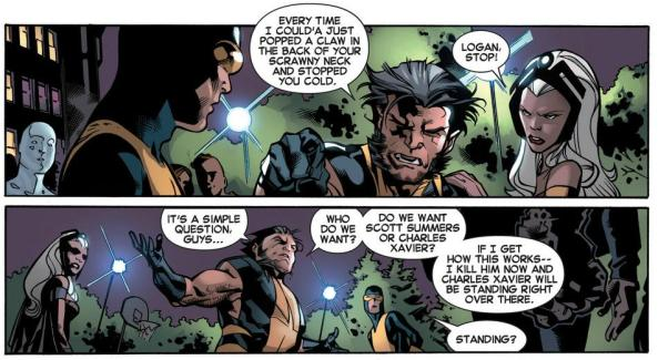 Wolverine treatens to kill young Cyclops to bring back Charles Xavier
