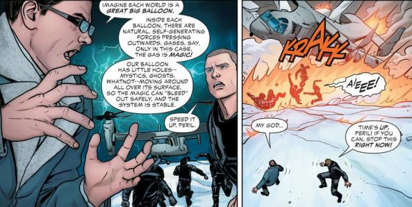 Dr. Peril explains what's happening in Nanda Parabat to Steve Trevor