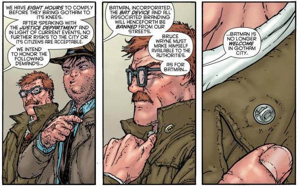 Jim Gordon hides his Batman Incorporated pin