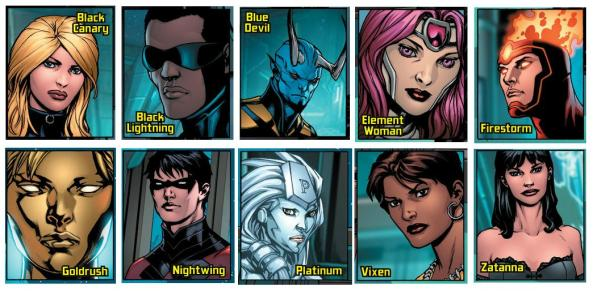 Justice League Reserves - Black Canary, Black Lightning, Blue Devil, Element Woman, Firestorm, Goldrush, Nightwing, Platinum, Vixen and Zatana