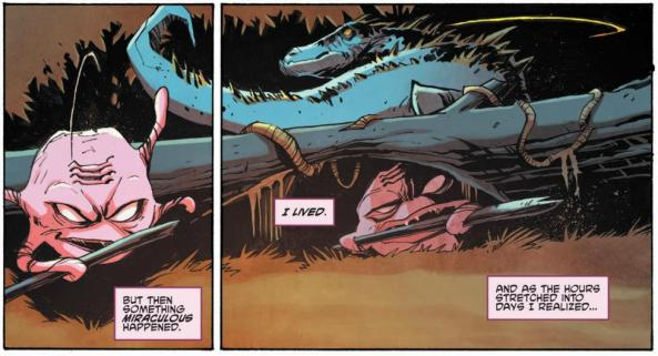Krang hides under a log in the Morbus swamps