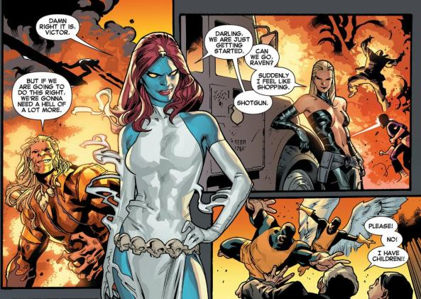 Mystique, Sabertooth and Lady Mastermind are definitely the bad guys here