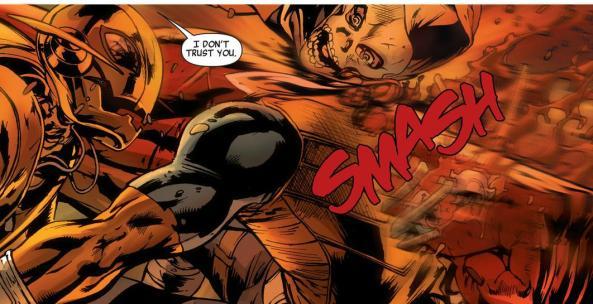 Red Hulk smashes Taskmaster