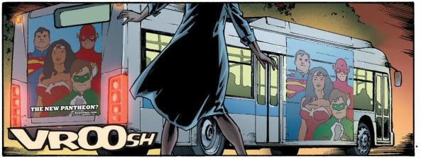 Superman Wonder Woman Flash Green Lantern on a bus