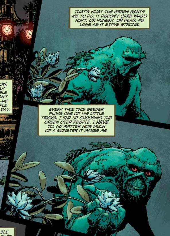 Swamp Thing sees a pretty flower