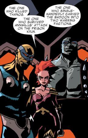 The Rigelians list Drax's heroic deeds