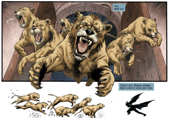 Batwing fights the lions of Tsavo