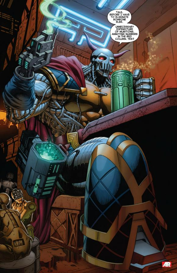 Death's Head is a totally Russain 30-foot tall bounty hunter robot