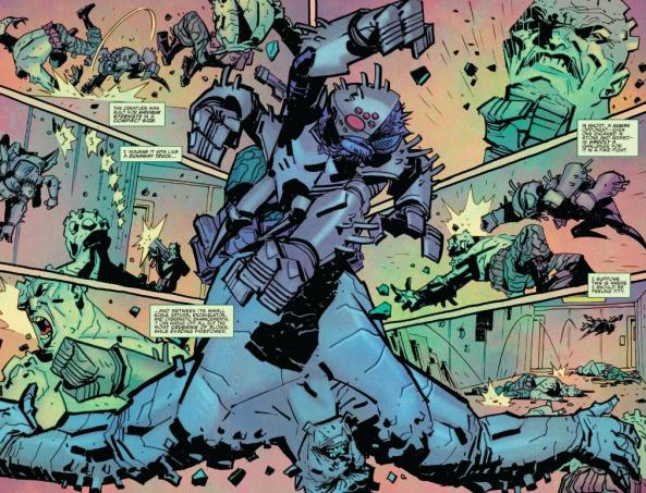 Flyborg beats up a rock soldier