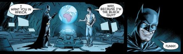 Luke Fox asks if he's Batwing because he's black