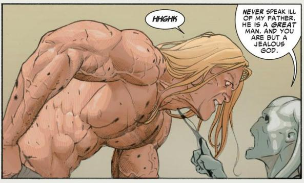Thor gets force-choked by Gorr's son