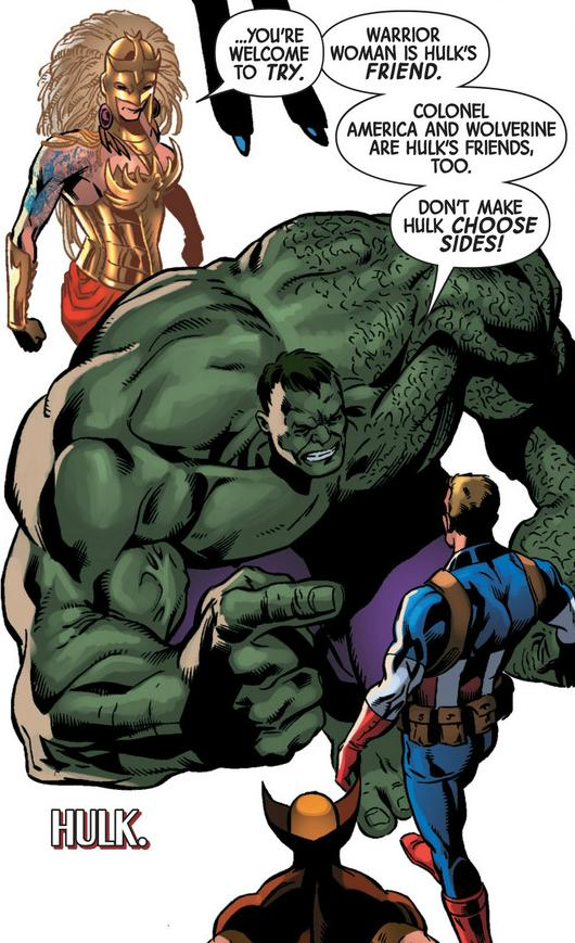 Warrior Woman and Colonel America make Hulk choose