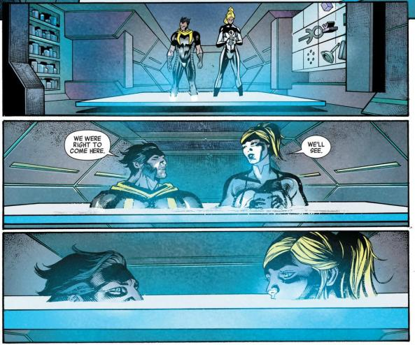 Wolverine and Sue Storm on the time platform