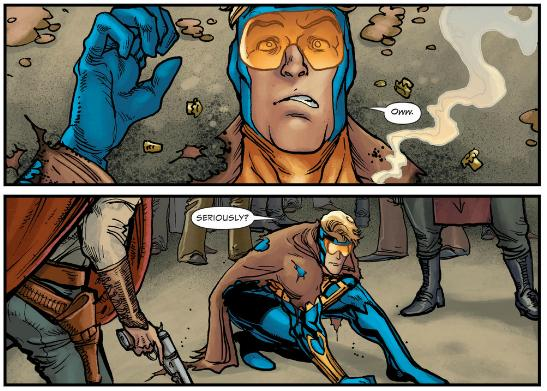 Booster Gold gets shot in the 1890s