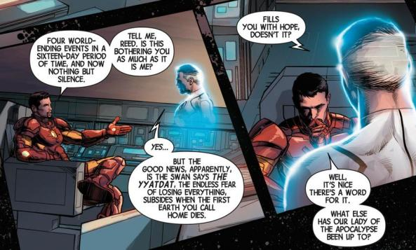 Reed Richards and Tony Stark discuss the Yyatdat