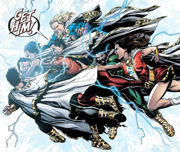 Shazam family swarms Black Adam