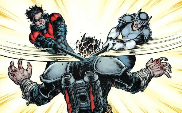 nightwing and knight fight Leviathan