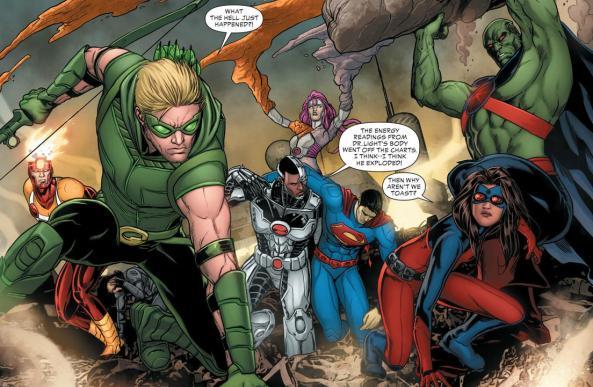 Firestorm Green arrow Cyborg Element Woman Atom Superman and Martian Manhunter