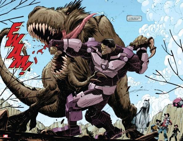 hulk punching a dinosaur