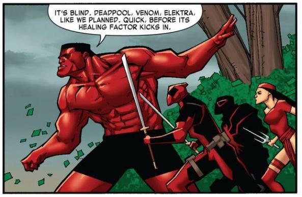 Red Hulk, Deadpool, Venom and Elektra