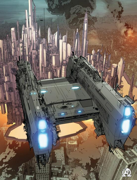Thanos ship over Atillan over NYC