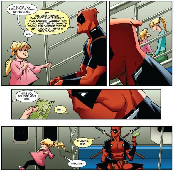 Little girl give Deadpool money