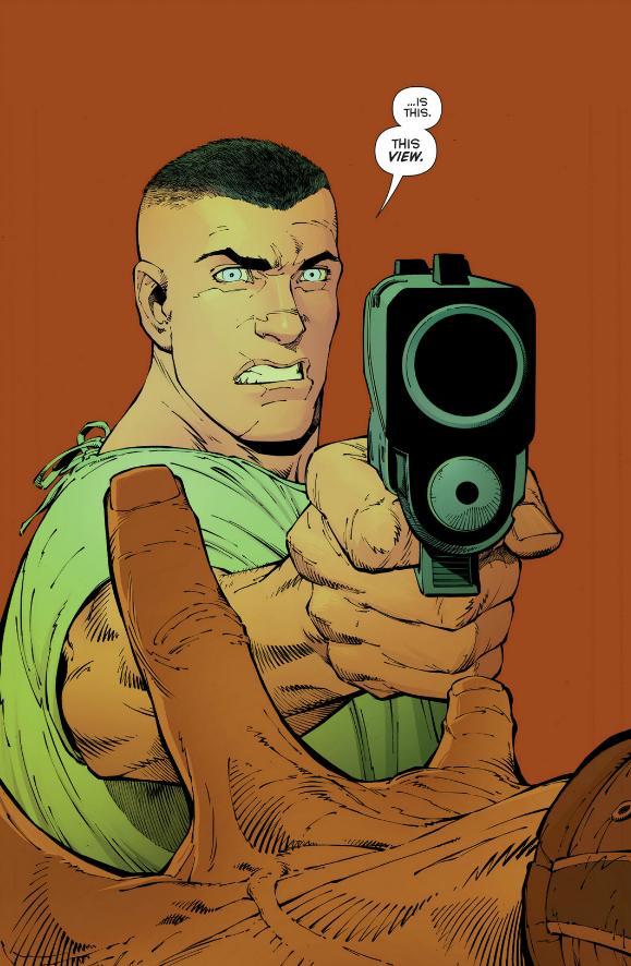 Bruce pulls a gun