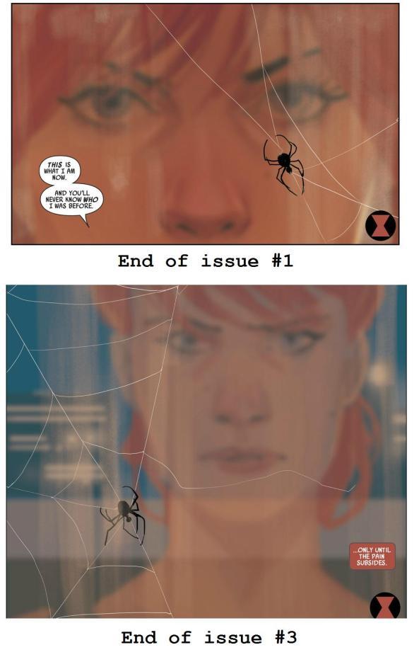black widow spins a web