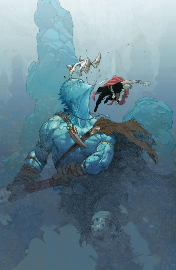 Thor beats up a frost giant for his ice