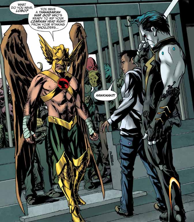 hawkgirl and hawkman meet John stewart met his son with shayera in the future, so he's a jerk so that the fans would root for gl to dump her and go back to hawkgirl.
