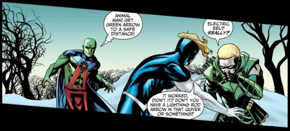 Animal Man, Green Arrow and Martian Manhunter in the snow