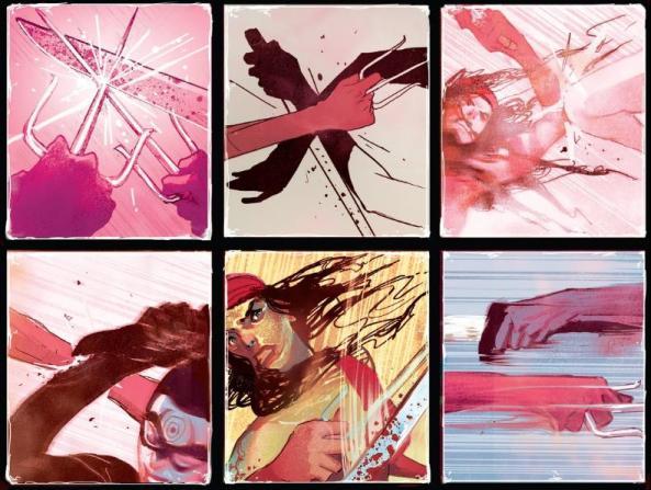 Elektra and Lady Bullseye fight