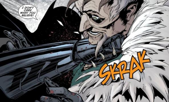 Batman punches Ra's in the neck