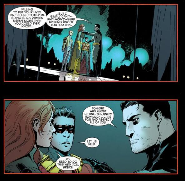 Batman doesn't hug Red Hood Red Robin and Batgirl