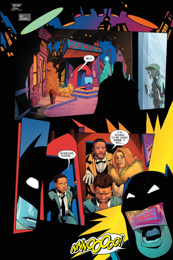 A comic where Batman watches a play based on the comic of his origin story