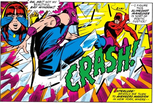 Daredevil slingshots Hawkeye