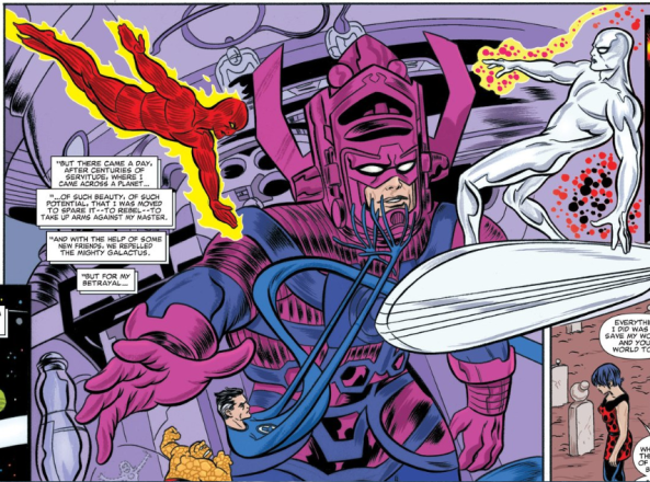 Reed Richards Johny Storm and Silver Surfer vs. Galactus