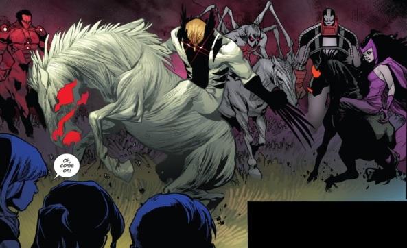 Wolverine, Red Hulk, Scarlet Witch and Spider-Man as Horsemen of Apocalypse